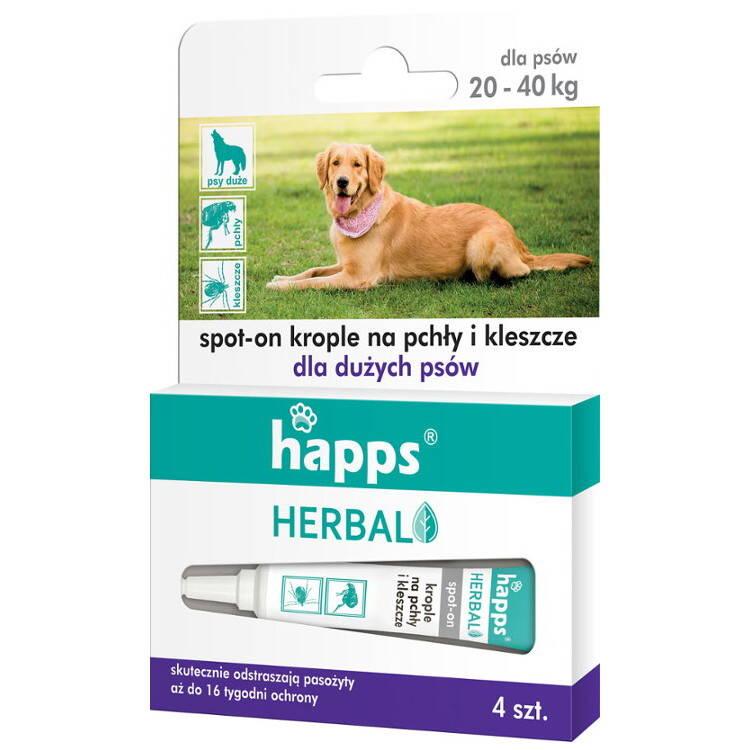 3676debbed26 HAPPS Herbal krople na pchły i kleszcze dla dużych psów (20-40kg)