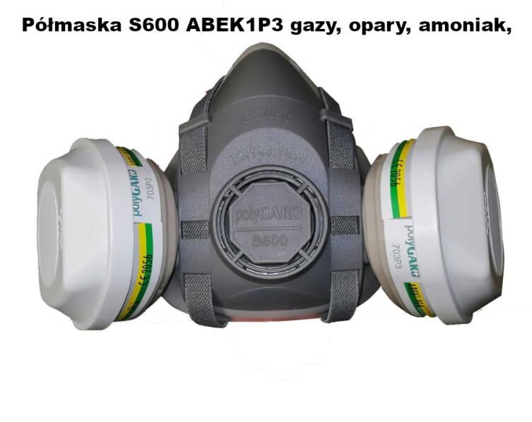 Półmaska S600 ABEK1P3 gazy, opary, amoniak, pyły